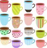 Cup und Becher Kaffee, heiße Schokolade Lizenzfreies Stockfoto