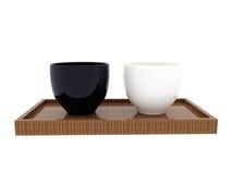 Cup und Holz Saucerart Lizenzfreie Stockfotos