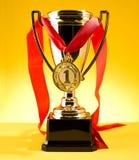 Cup und Medaille Stockfotografie