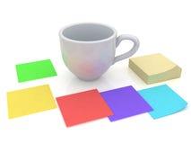 Cup- und Papierblätter Stockfotos