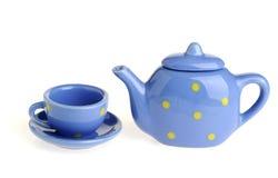 Cup und Teekanne Stockfotos