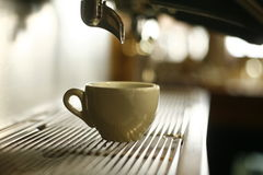 Cup under coffer maker machine. Cup underneath modern coffee maker machine Royalty Free Stock Photo