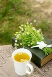 A cup of useful soothing chamomile tea, a bouquet of chamomiles and a book on a swing. Selective focus Royalty Free Stock Photo