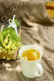 A cup of useful soothing chamomile tea, a bouquet of chamomiles and a book on a swing. Selective focus Stock Photo