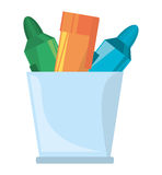 cup with various colores markers school Royalty Free Stock Photo