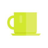 Cup Vector Illustration in Flat Style Design. Green ceramic teacup  on white background. Basic kitchen dishes concept for icons, dinnerware print element Stock Image