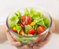 Cup of vegetable vegetarian salad. In the hands stock photo