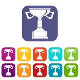 Cup for victory icons set Royalty Free Stock Photo