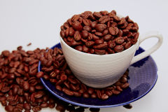 Cup voll Kaffeebohnen Stockfotografie