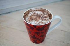 Cup of warm cappucino mocha coffee. Cup of warm cappucino mocha chocolate and coffee stock images