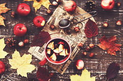 Cup of warming tea with apple and cranberry and yellow leaves Stock Images