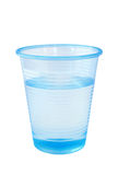 Cup of water. Pale blue plastic cup of chilled water, fresh from the dispenser. Isolated stock photos