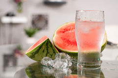 Cup of water and watermelon, diet concept Stock Image