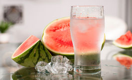Cup of water and watermelon, diet concept Royalty Free Stock Image
