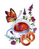 Cup watercolor illustration. Teacup withblack tea, butterfly, thyme and cookie.