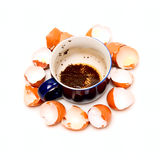 Cup with weak tea and shells Stock Images