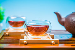 A cup of whole leaf lapsang souchong tea, a rich smoky flavored tea Royalty Free Stock Photo