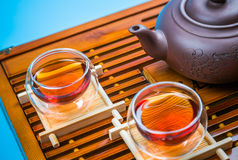A cup of whole leaf lapsang souchong tea, a rich smoky flavored tea Royalty Free Stock Image