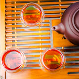 A cup of whole leaf lapsang souchong tea, a rich smoky flavored tea Royalty Free Stock Photos