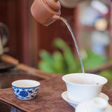 A cup of whole leaf lapsang souchong tea, a rich smoky flavored tea Royalty Free Stock Images