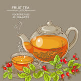 Cup of wild rose hips tea and teaapot Royalty Free Stock Photography