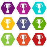 Cup for win icon set color hexahedron. Cup for win icon set many color hexahedron isolated on white vector illustration Stock Photo