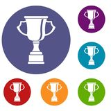 Cup for win icons set. In flat circle reb, blue and green color for web Royalty Free Stock Images