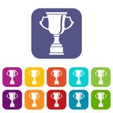 Cup for win icons set. Vector illustration in flat style in colors red, blue, green, and other Royalty Free Stock Photography