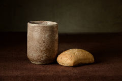 Cup of Wine and BRead. On table with cloth royalty free stock photos