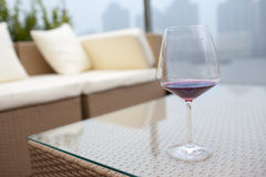 Cup of wine in front of  huangpu river Royalty Free Stock Photos