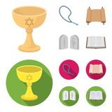 A cup of wine, Islamic beads, ten commandments, tanakh. Religion set collection icons in cartoon,flat style vector Stock Photography