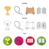 A cup of wine, Islamic beads, ten commandments, tanakh. Religion set collection icons in cartoon,outline,flat style Stock Image