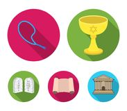 A cup of wine, Islamic beads, ten commandments, tanakh. Religion set collection icons in flat style vector symbol stock Royalty Free Stock Image