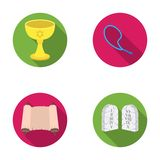 A cup of wine, Islamic beads, ten commandments, tanakh. Religion set collection icons in flat style vector symbol stock Stock Images