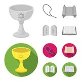 A cup of wine, Islamic beads, ten commandments, tanakh. Religion set collection icons in monochrome,flat style vector vector illustration