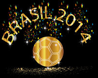 Cup  winner Brazil Soccer 2014. Background Soccer   Football   Tournament brasil 2014 gold winner Stock Photography