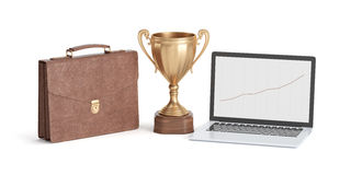 Cup winner, briefcase and laptop on white background. Golden cup winner, briefcase and laptop  on white background, 3D rendering Stock Images