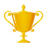 Cup of winner, gold trophy cup, vector illustration Stock Images