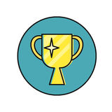 Cup Winner Icon. Cup winner round icon. Yellow cup winner on blue background. Win icon. Business design element. Design element, sign, symbol, icon in flat Royalty Free Stock Photo