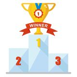 Cup winner icon. Victory Podium with first, second and third place. Cup and medl. Conceptual image competition winner.Cartoon flat vector illustration. Objects Stock Image