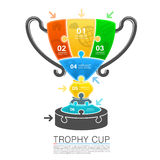 Cup winner with icons puzzle. Vector illustration Stock Photo