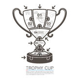 Cup winner with icons puzzle. Vector illustration Stock Photography