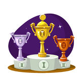 Cup winners on the podium Royalty Free Stock Image
