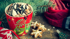 Cup of winter hot drink cacao Royalty Free Stock Photo
