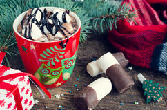 Cup of winter hot drink cacao Stock Photos