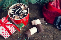 Cup of winter hot drink cacao Stock Image