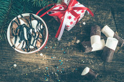Cup of winter hot drink cacao Royalty Free Stock Photography