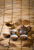 Cup of winter tea and dry herbal tea on a bamboo mat background. Stock Image