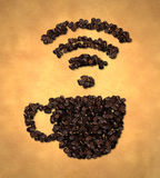 Cup Wireless Icon Coffee Bean on Old Paper Royalty Free Stock Photography