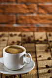 Cup With Espresso On The Wooden Boards Stock Image